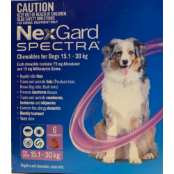 NexGard Spectra Chewables for Dogs 15.1kg 6 Chewables