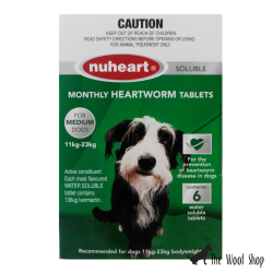 Nuheart Monthly Heartworm Tablets for Medium Dogs 11kg to 23kg